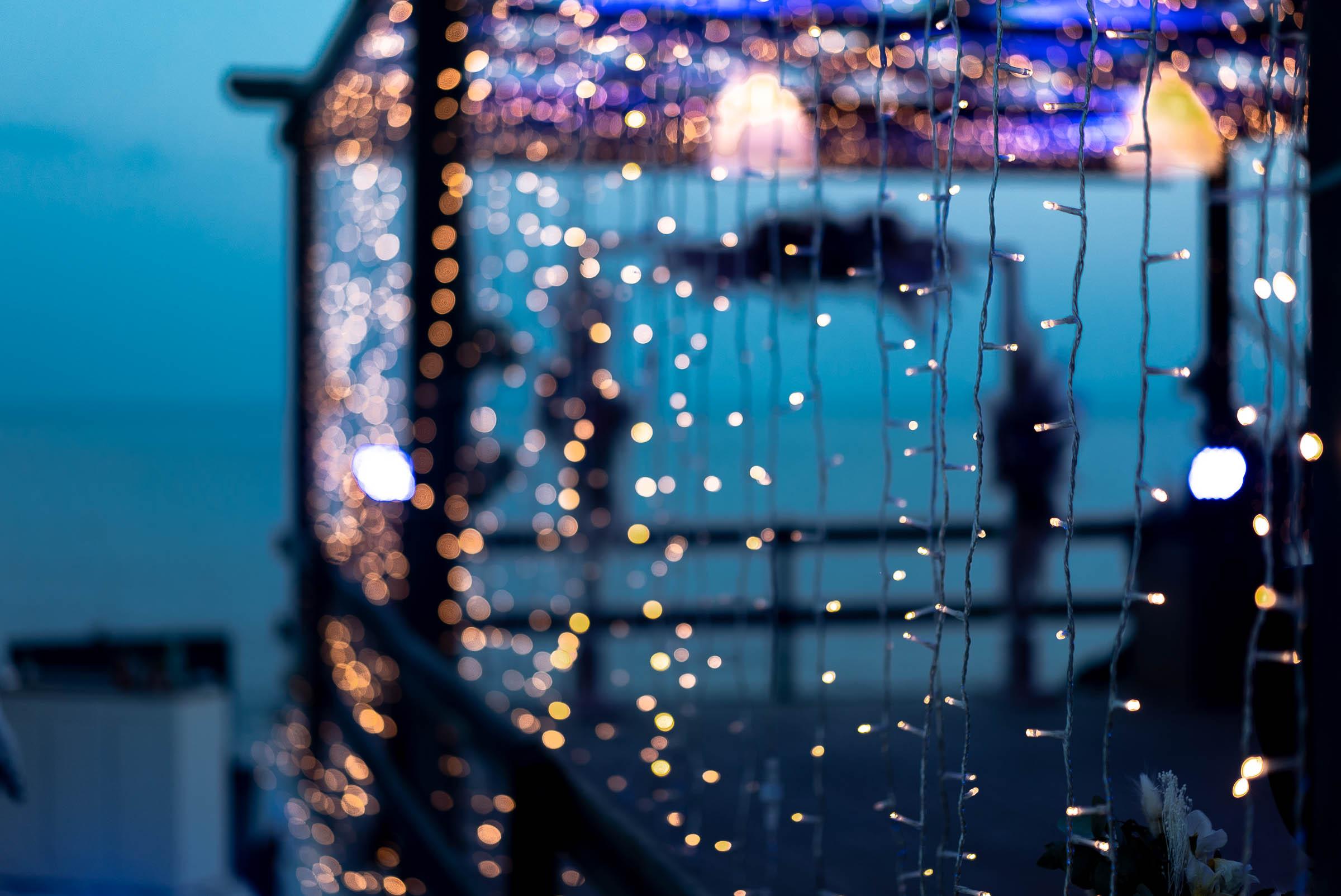Fairy lights on pergola