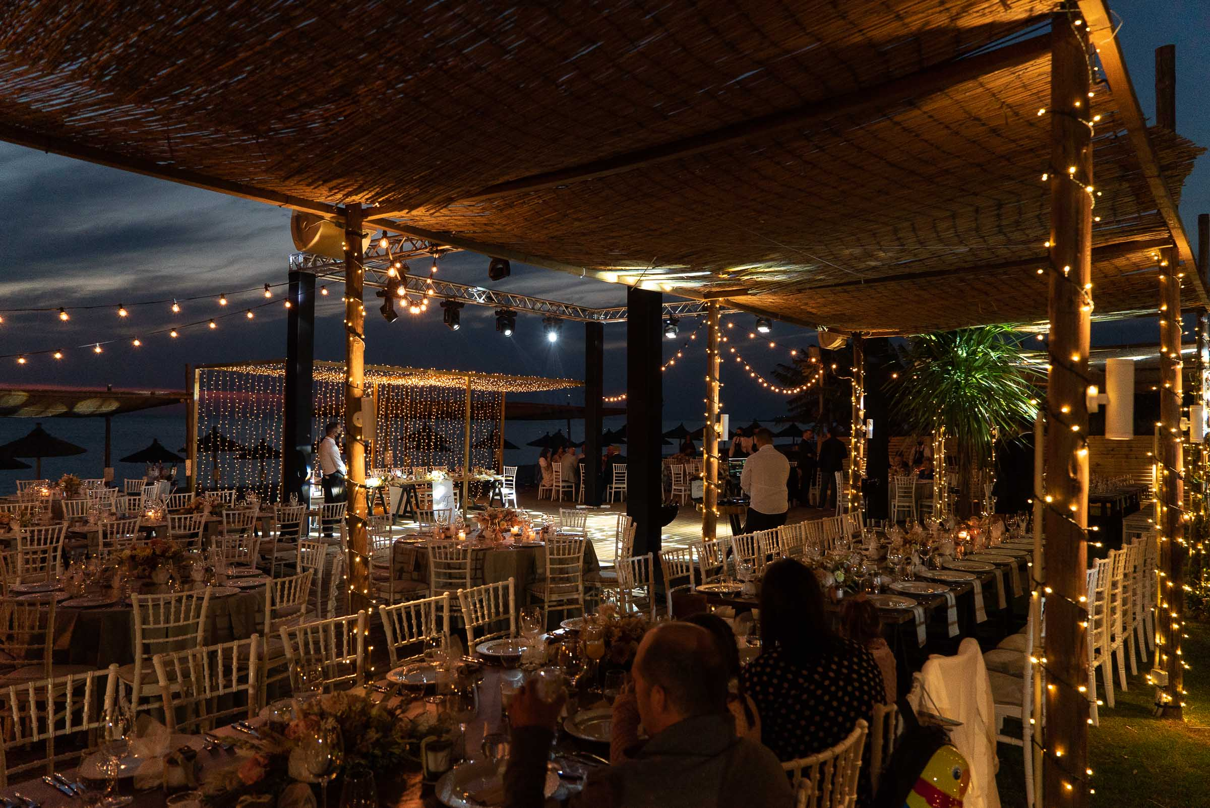 Fairy lights in a wedding event