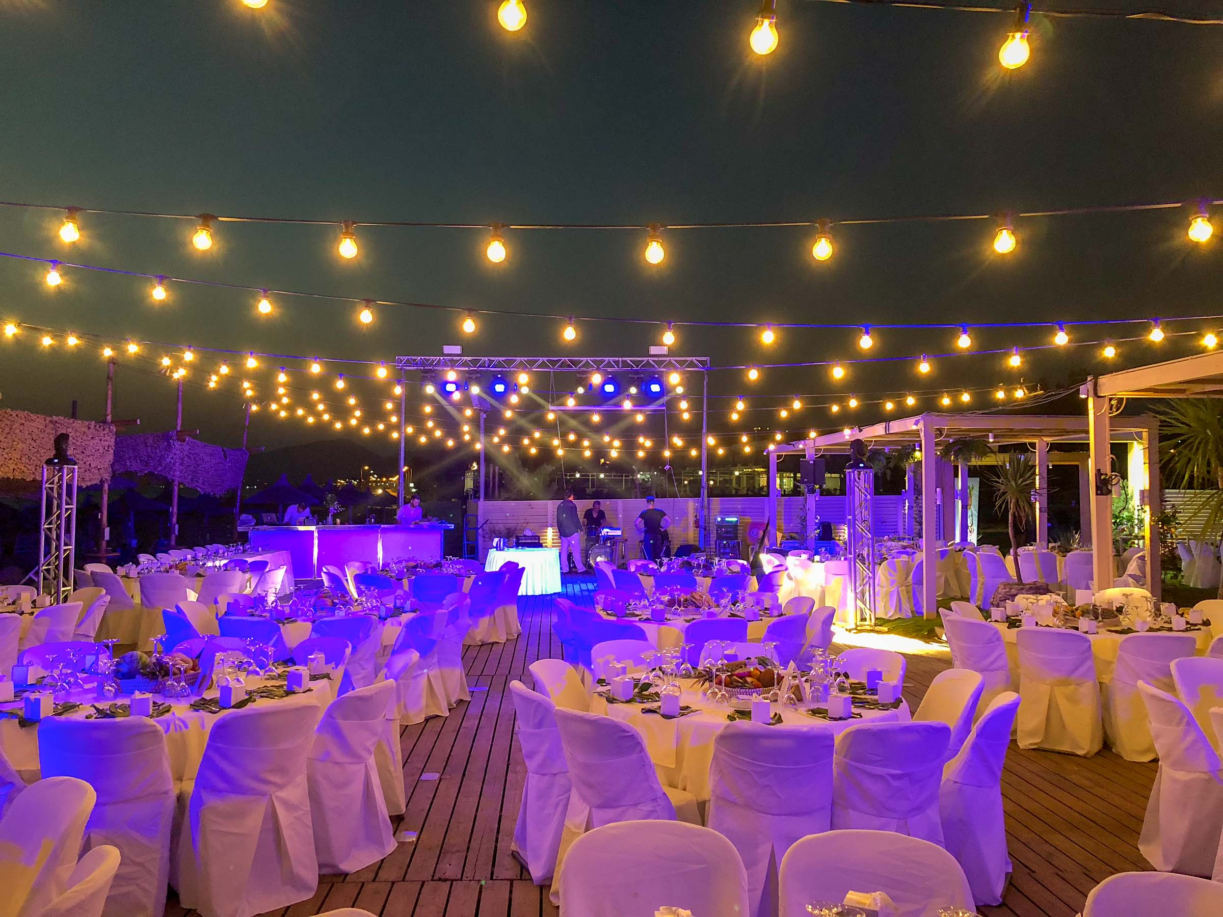 Garland lighting over tables